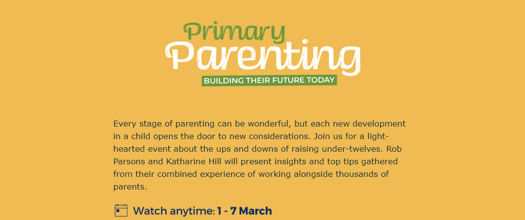 Primary Parenting – Care For the Family event